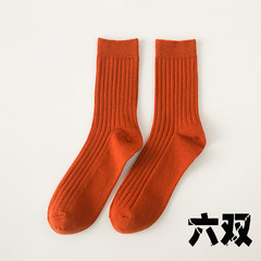 Male socks cotton spring tide sports sweat deodorant Korean Japanese Harajuku stockings stockings in men's College wind Size 35-44 (14) orange six pairs
