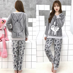 New winter style flannel, lovely coral velvet pajamas, female winter Korean version, fresh students can wear home clothes M Gray Starling