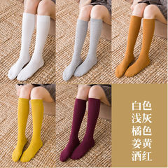 Piles of autumn and winter, the Korean women socks, knee high socks stockings stovepipe children cotton in South Korea Note: except for nine points, all feet are connected to the foot stepping option White + gray + orange + turmeric + Red Wine