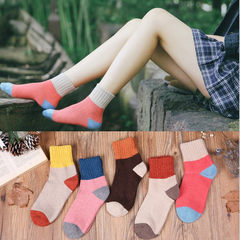 Korean women socks in autumn and winter, Japan Korean Institute of Japanese wind cylinder wool yarn thickening long cylinder Size 35-44 Candy color 5 Double Pack