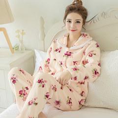 Female winter coral fleece pajamas pajamas large size Korean cute cardigan sweet thick flannel suit Home Furnishing XL [105-125 Jin] 052 cardigan