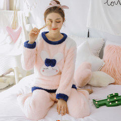 Pajamas female winter coral cashmere Version cute, can be worn out winter and autumn sets of head thickening flannel home suit 2 sets of preferential 10 yuan sending freight insurance Pink 037