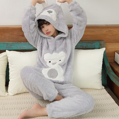 Pajamas, girls, autumn, winter, Korean, fresh students, coral fleece, flannel, home suit, winter suit M 702 bears with hat grey