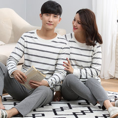 Lovers' pajamas, cotton long sleeves, spring and autumn season, men's women's summer Korean version, sweet and lovely, wearing autumn suit family clothes Female XXL code + male XL code 5151 stripes long sleeve