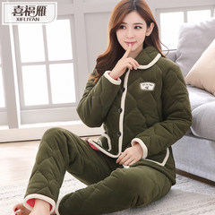 Winter pajamas three layers of women thickening, velvet, cotton pajamas, coral velvet, home suit, lovely flannel, Korean version Commitment to quality problems can be returned through the wash 02 yanyaqunfang
