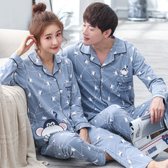 Daily specials, spring and autumn lovers' pajamas, autumn women's pure cotton long sleeved suit, autumn autumn and winter men's home wear The new M early adopters price One little monkey A9603