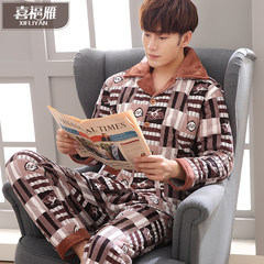 Winter pajamas three men with velvet layer clip cotton pajamas coral fleece Flannel Suit Jacket Size Home Furnishing Commitment if quality problems are washed, can be returned 04 tall