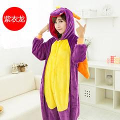 Nanjiren cartoon pajamas conjoined animal winter flannel pajamas for men and women clothing Home Furnishing dinosaur lovers apartment S (150-156) + send shoes Purple Dragon