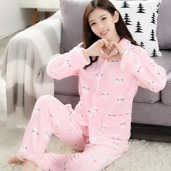 Every day special price thickening autumn winter, flannel pajamas female suit, coral velvet lovers pajamas, lovely home clothes XL Cartoon rabbit