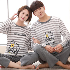 Spring and autumn and fall a long sleeved cotton pajamas a couple of men and women in autumn and winter can wear cotton Home Furnishing suit Female XL T stripe cat