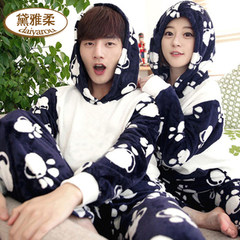 Women's flannel pajamas, winter cartoon cute, thickening coral velvet big size men's and women's long sleeve home suit Female paragraph: L Cashmere 03# footprints