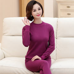 Long johns old lady mother cotton underwear thin cotton sweater sweater pants suit old line M/85 (85-100 Jin) Violet pure color (middle collar)