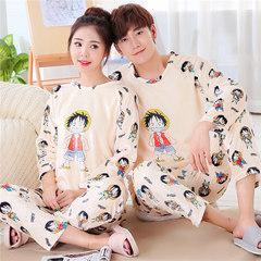 Korean velvet velvet pajamas, long sleeves, men and women cute, cartoon flannel, autumn winter thickening home suit Female M+ male L Rong Lu Fei