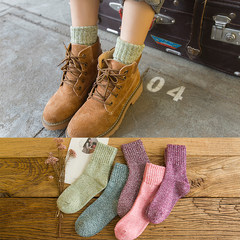 Thick socks cotton socks, children socks. Autumn and winter wind in winter with retro female cashmere socks OPP buy 10 get 2 bags softcover [] Women socks - thickening - pure color retro 5 Double Pack