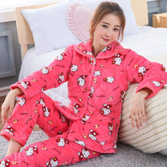 Ms. winter three Coral Fleece Pajamas clip jacket thick warm flannel suit size Home Furnishing cute XL (120-140 Jin) three layer thickening Five hundred and twenty-two