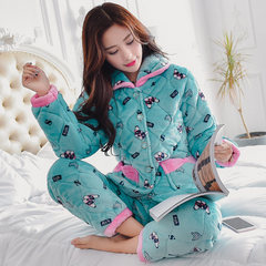Coral velvet, cotton pajamas, female winter three layer thickening, flannel, Korean version, lovely winter warm home clothes M (for 80-100 Jin) Youth Memorial