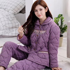Three layer thick warm winter cotton pajamas female cotton long sleeved autumn winter jacket size Home Furnishing suit XXL (three layer thickening, inner and outer layer of pure cotton) H1156