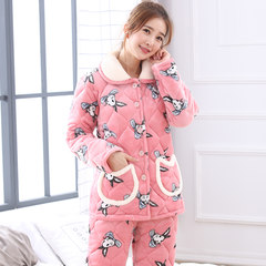 Pajamas women thickening in winter, plush Korean version, lovely coral velvet, three layers of Cotton Flannel Suit L code [100 Jin -120 Jin] 86260 bunnies