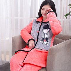 Flannel clip cotton pajamas female winter three thicker in the long section of coral cashmere cashmere and cotton padded jacket Home Furnishing suit L (less than 105 kg) Three thousand and two