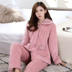 Coral fleece clip cotton pajamas female winter three thicker XL long sleeved pajamas Flannel Suit Jacket Home Furnishing clip M Bei folder #3218