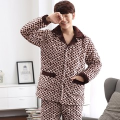 Special offer every day [] men and women pajamas winter mink cashmere Home Furnishing suit three thick layer of warm cotton pajamas XL [three layers thickened extra thick] Dark brown