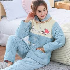 Ladies winter Coral Fleece Pajamas cute jacket to wear thick warm layer three cotton flannel suit Home Furnishing suit M 730 days blue