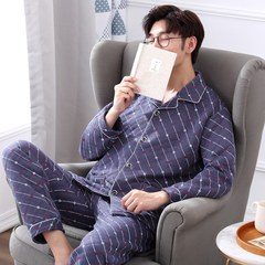Middle aged men's pajamas in autumn and winter, mezzanine thickening, long sleeve cotton suit, medium and old men's cotton pajamas men's suit L recommends height 160-170, weight 95-125 Jin 768-5 gray (sandwich)