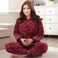 Autumn clip cotton pajamas female three layer of thick flannel pajamas coral velvet suit jacket Home Furnishing cute. Thickening and clamping cotton L Waratah 8