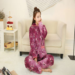 The winter cotton flannel pajamas lady three clip thickened layer of cotton long sleeved clothing Home Furnishing coral fleece jacket L (100-115 Jin) Red bean paste