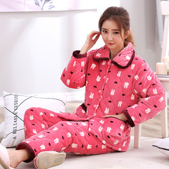 Female elderly warm winter pajamas coral fleece three thicker cotton flannel suit long sleeved clothing Home Furnishing XL Eight thousand eight hundred and sixty-two