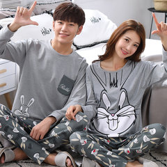 Spring and autumn and fall a long sleeved cotton pajamas a couple of men and women in autumn and winter can wear cotton Home Furnishing suit Female L A long eared rabbit