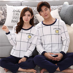 The new spring and autumn lovers pajamas, women's cotton long sleeved suit, autumn winter men's women's loose home wear Korean version Female paragraph: XXL code [130-155 Jin] HY grid