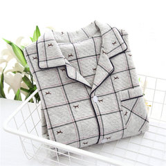 Japanese autumn and winter men's pajamas long sleeved cotton warm thickening cotton folder, autumn cotton home suit set big yards M Gray cartoon lattice