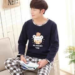 Men's pajamas, long sleeves, pure cotton, spring and autumn cartoon, young men's all cotton home suit plus fertilizer XL M Grey plaid pants
