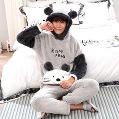 Fall and winter flannel pajamas, men's fat XL, coral velvet pajamas, men's long sleeved home suits Trumpet L (163CM\115 Jin) Black + white