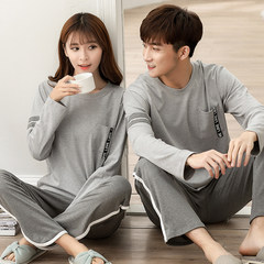 In spring and autumn, lovers' pajamas, long sleeves, pure cotton autumn, autumn and winter cartoon women suits, men's home clothes can be worn out Male XXL no pilling, no fading Long sleeve X pocket ash