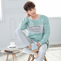 Pajamas, men's long sleeves, pure cotton, young boys, sports sleeves, autumn and winter, home wear, thin set Male XXL code Light green