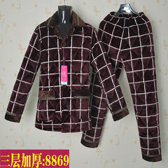Men's winter cotton pajamas in elderly thickened warm clothes three layers of flannel suit with fertilizer Home Furnishing L=170 code [three layer thickening] Eight thousand eight hundred and sixty-nine