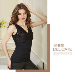 Winter lace sleeveless vest size breast care plus velvet thick warm body underwear bra with female backing collar V XL fit (80-100 Jin) Classic black