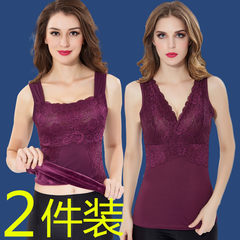 Bralet warm female vest with cashmere underwear bra cotton vest vest's backing in winter XL80-100 Jin 606, black + wine red
