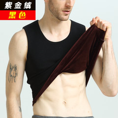 Winter warm vest, men's cashmere thickening, ladies' round collar underwear, waistcoat, bottoming coat, self-cultivation tide M (men) black