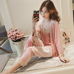 Winter sexy lace collar V sling pajamas long sleeved robe jinsirong female Home Furnishing clothing three piece suit S Blackish green