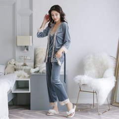 Female pajamas in autumn and winter of three suits of Korea coral fleece velvet dress sexy suspenders long sleeved gown Home Furnishing female M Smoke grey
