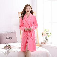 Long flannel bathrobe bathrobe nightdress Nightgown female size Coral Fleece Pajamas in autumn and winter wear long sleeved women Home Furnishing M Watermelon red bathrobe