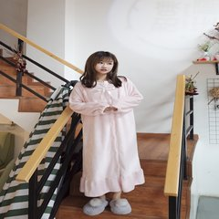 Korean winter pajamas dress dress with loose long sleeved cashmere clothing ladies leisure Home Furnishing student Nightgown Robe F Pink