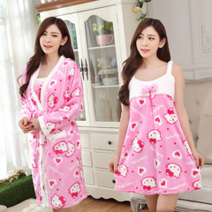 Autumn and winter female robe coral velvet sleeve pajamas Two Piece Flannel bathrobe bathrobe Nightgown dress Home Furnishing thickening XL code [suggestion 115-130 Jin] Peach KT cat (Nightgown + robe)