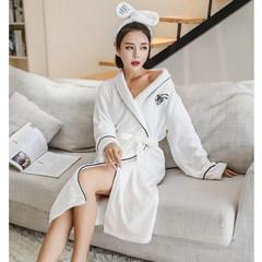 Korean female winter sweet princess robe sleeve pajamas flannel bathrobe long thick coral velvet suit Home Furnishing 160 (M) Weimibai