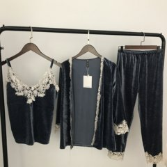 Female sexy pajamas and velvet robe set loose long sleeved sling size mm three piece suit Home Furnishing fat S Smoke blue