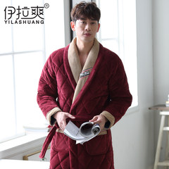 Mens winter winter long Nightgown Pajamas with thickened male cashmere young coral fleece quilted bathrobe warm men 190 (XXXXL) Y3757 red wine