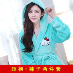 Lovely autumn winter coral fleece bathrobe Nightgown Pajamas female flannel XL pajamas bathrobe home Home Furnishing winter XXXL Hooded robe female green suit